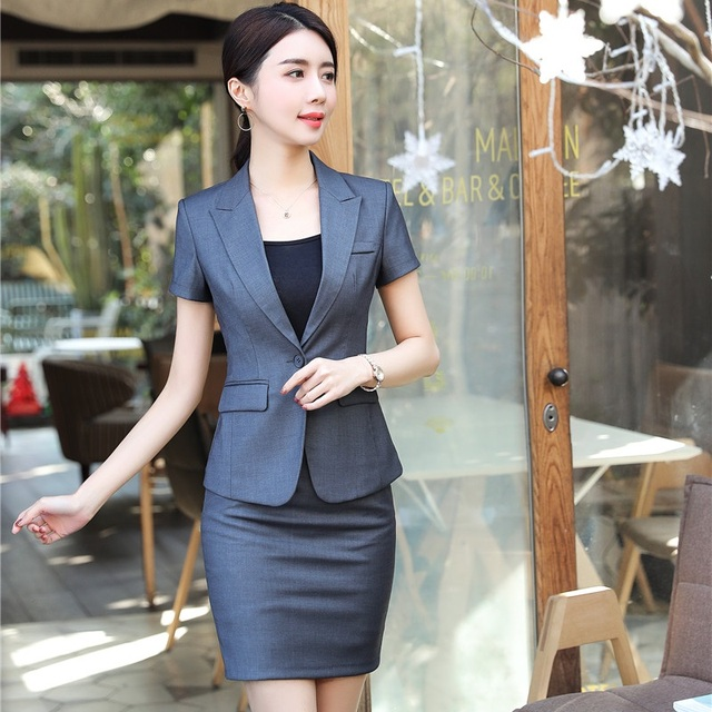 0c6f5dadc086af New Styles 2018 Summer Blazers Suits With 2 Pieces Tops And Skirt For Ladies  Beauty Salon Elegant Grey Uniform Designs Sets