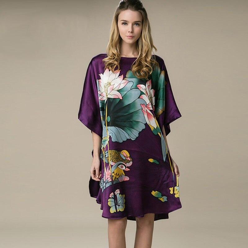 100% Silk Satin Dress Natural Mulberry Silk Women Dresses Plus Size Home Dress Handmade Painting Dress Purple Colors