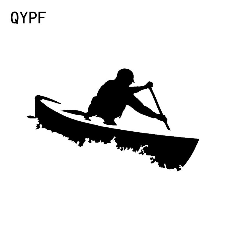 QYPF 14.6*8.7CM Lovely Canoes Decor Car Sticker Black/Silver Accessories Vinyl C16-1141