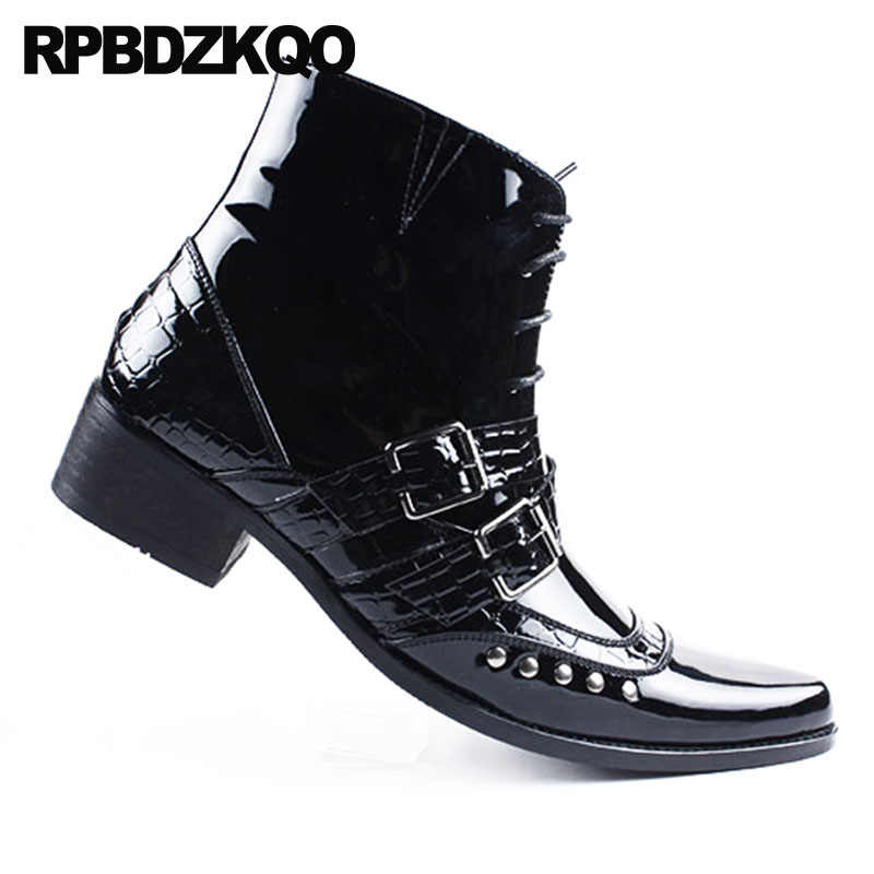 d111cc5b6a1 ... Rivet Punk Snakeskin Mens Black Patent Leather Boots Rock Booties  Pointed Toe Fall Shoes Stud British ...