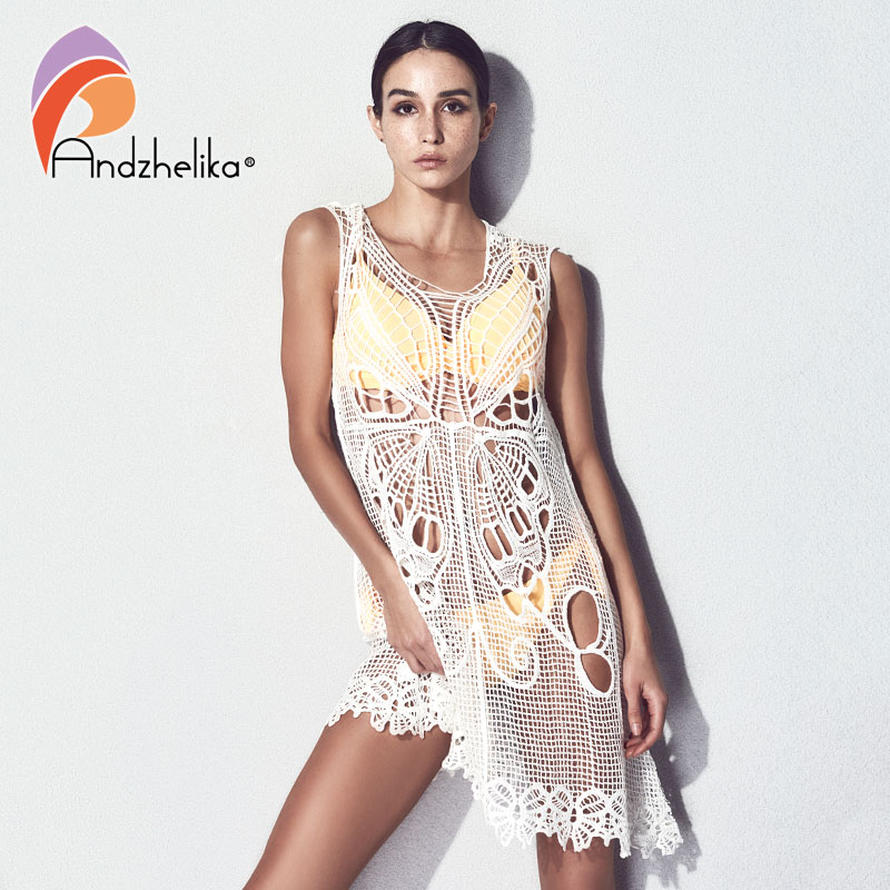 6819e6eb1c55b Andzhelika Knit Bikini Cover Ups Beachwear 2018 Women Sexy Dress Butterfly Crochet  Summer Swimwear Bathing Swimsuit Cover Up