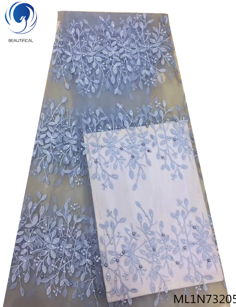 Beautifical african fabrics laces with beads Embroidered dress tulle french for wedding 5yards ML1N732