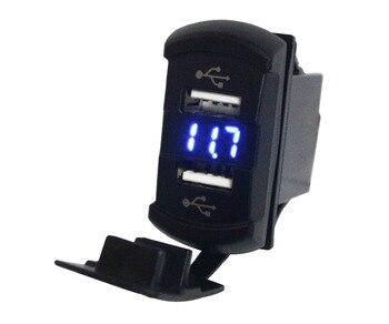 Blue 2 IN 1 Voltmeter Voltage Meter Volt Gauge + Dual USB Ports Power Charger Socket for Auto Parts, ARB Carling Rocker Switch