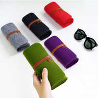 Unisex Felt Sunglasses Bags Cases Portable Soft Glasses Package Accessories Belt Closure Eyeware Protection Storage Bag