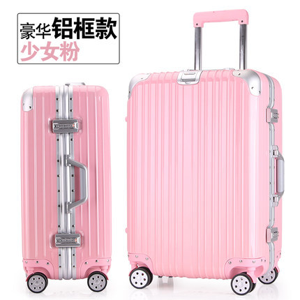 28 inches Aluminum frame pull rod box universal wheel suitcases; male and female luggage suitcase boarding lockbox