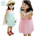Estilo verão Vestido Da Menina Crianças Vestido de Bolinhas Crianças Roupas Vestido Da Menina Da Princesa Vestidos Com Bow Menina Vestido Sem Mangas Em Camadas