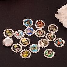 Rhinestone Skull Embellishment Button Flat Back 100pcs/lot 20MM For Scrap Booking Girl Hair Bow Center Kids Crafts