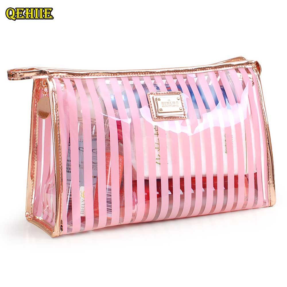 QEHIIE brand cosmetic bag transparent PVC striped pattern women beautician travel organizer cosmetics hand hold Makeup Bag qehiie brand women s makeup box