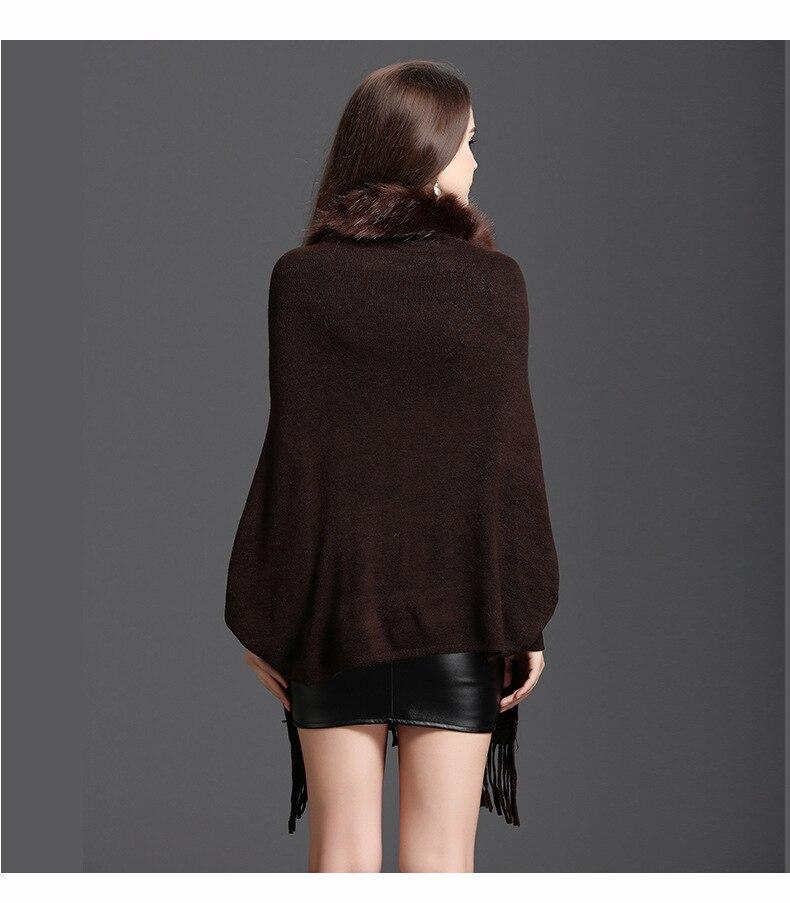 Faux Fur Collar Shawl Cardigan Tassel Winter Warm Coat 74