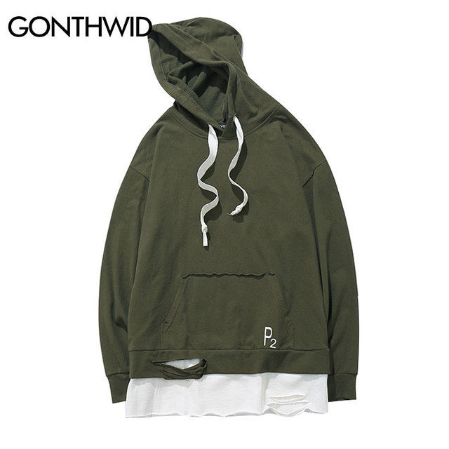 GONTHWID Ripped Patchwork Sudaderas Con Capucha Para Hombre 2017 Algodón  Swag de Hip Hop Casual Pullover 8cf40d969aa