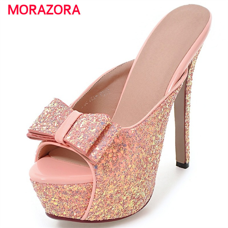 MORAZORA Plus size 34 43 hot sale summer shoes bowtie solid platform shoes high heels sandals