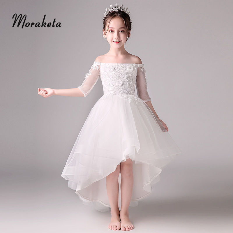White Princess High Low First Communion Dresses For Girls 2019 New Tulle Off The Shoulder Half Sleeves Flower Girl Dresses
