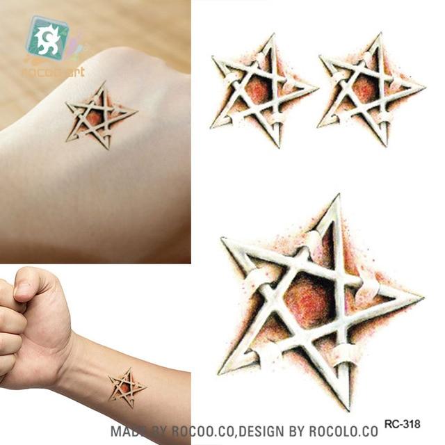 3d Halloween Wound Pentagram Scar Fake Tattoo Designs Temporary Tattoo Sticker Body Art Water Transfer Tattoo Decal Taty
