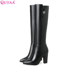 QUTAA 2018 Women Over The Knee High Boots Ashion Pu Leather Square High Heel Pointed Toe Women Motorcycle Boots Size 34-43