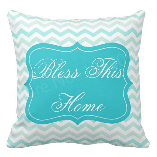 Bon Chevron Zigzag Cushion Cover Teal Bless This Home Throw Pillow Case Mint  Turquoise Decorative Chair Cushions