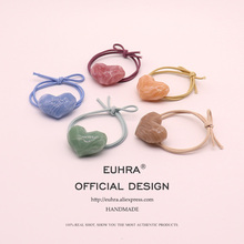 EUHRA 5 Colors Cute Shape Heart Love Textured Gum Resin For Women Elastic Hair Bands Kid Children Rubber High Elasticity