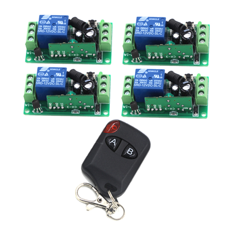 315MHz 10A Relay DC 12V 1CH Wireless RF Remote Control Switch 1 Transmitter 4 Receiver Inter-lock 4192 315mhz wireless relay module switch remote control switch 9v 12v 24v 1ch 10a receiver wall transmitter for light gate motor