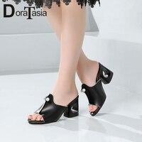DoraTasia New Concise Women Black Mules 2019 Summer Elegant Peep Toe High Heels Shoes Woman Decorate Slippers Plus Size 32 48