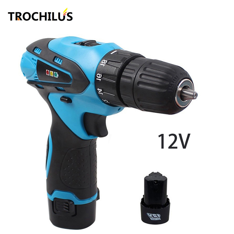 12V high quality power tools cordless drill multi - function mini electric  drill screwdriver with lithium battery * 2 high quality screwdriver combination set unique telescopic function