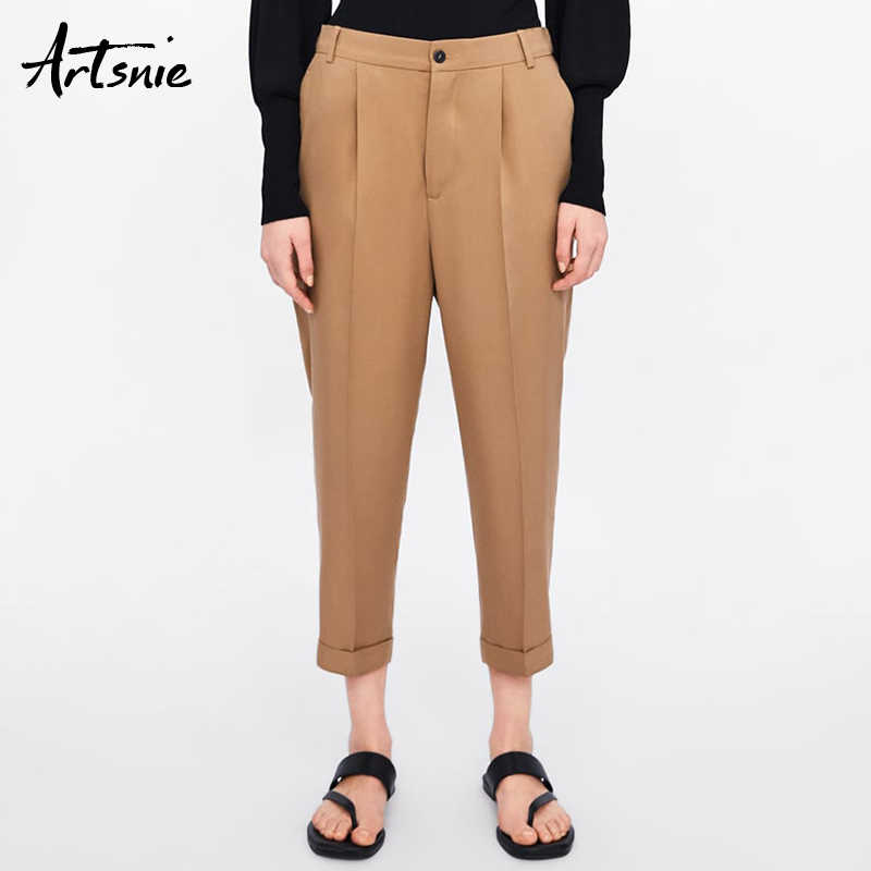 Artsnie summer 2019 high waist casual women pants double pockets zipper khaki ankle length OL pencil pants female trousers