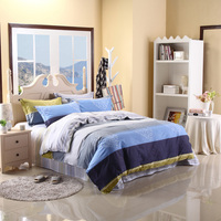 Wide Stripes Leaf Printing 4pc Bedding Sets Queen Double Bed Quilt Duvet Comforter Cover Bedclothes Pillow