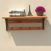 Vintage Solid Wood Wall Hanger European Style 4 Metal Hooks For Hanging Clothes Hat Bag Home