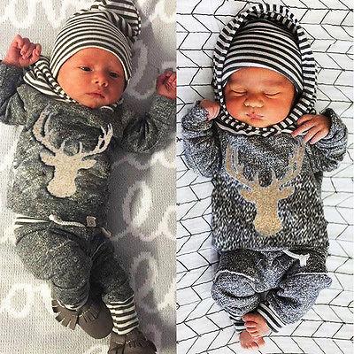 3pcs Set Newborn Baby Boy Girl Long Sleeve Deer Clothes + Tops Hooded T-shirt + Pants Outfit Set