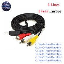 AV кабель 6 линий 1 год Cccam clines для спутникового ТВ ресивера DVB-S2 высокого качества стабильный cccam cline для 1 года Европы, испании