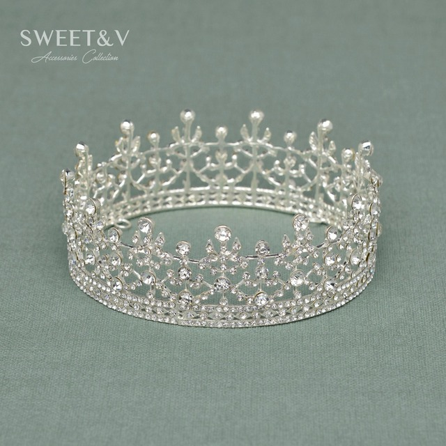 liquidation vente scintillant royal pleine ronde couronne princesse tiara strass tte bijoux cheveux accessoires pour le - Couronne Princesse Adulte