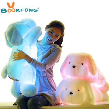 BOOKFONG 50CM długość Creative Night Światło LED piękny pies nadziewane i pluszowe zabawki najlepsze prezenty dla dzieci i przyjaciół tanie i dobre opinie Stuffed Plush Animals Bawełna PP led dog pillow Plush Nano Doll keep away from fire Unisex 3 lat led pillow Soft Plush Dog