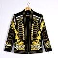 Homens Fino moda Bordado padrão feitos à mão fio de ouro Muitos botões jaquetas lazer discotecas performances pequenos ternos Dos Homens