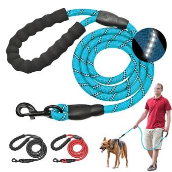 عاكس كبير طوق من النايلون حبل الحيوانات الأليفة تشغيل تتبع المقاود الرصاص طويلة الكلب الجبلية تسلق حبل ل متوسط كبير الكلب الكبير