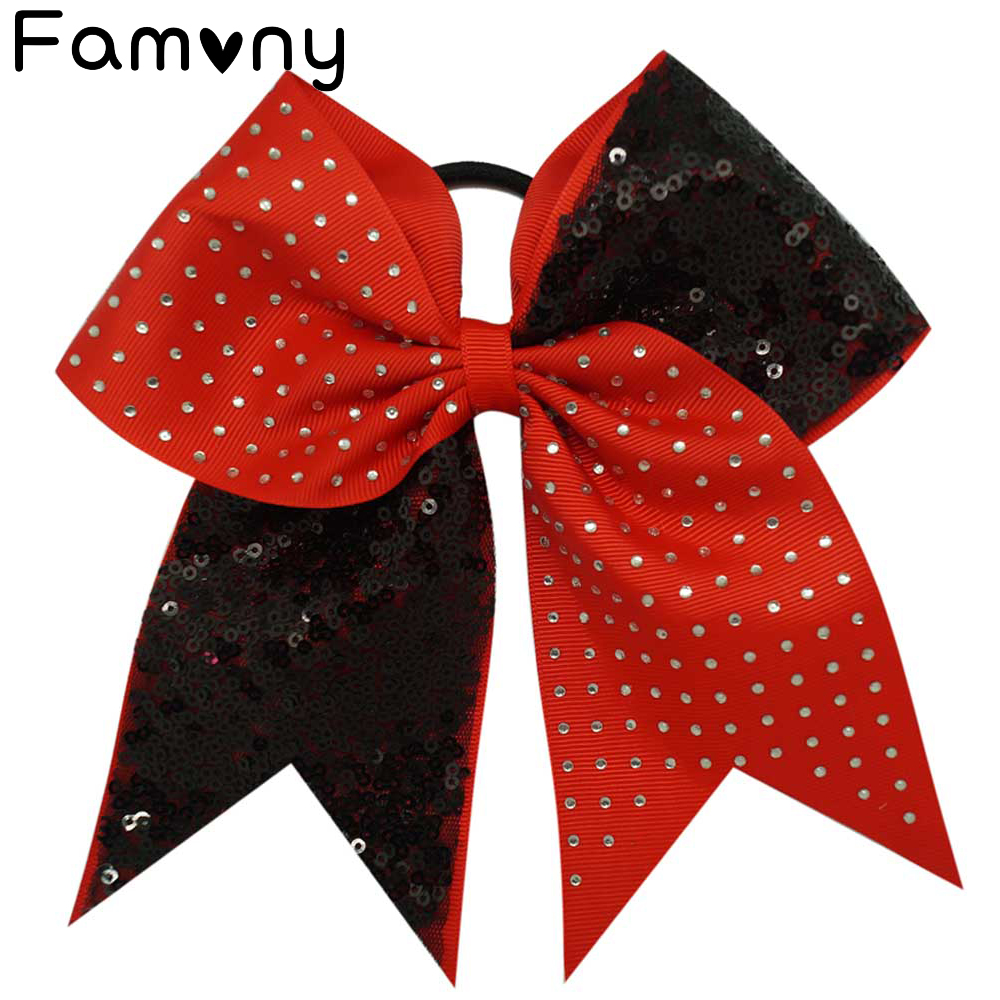 7 Solid Sequins Rhinestone Boutique Grosgrain Ribbon Cheer Bow With Elastic Hair Bands For Cheerleading Girl Accessories