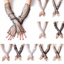 Женские летние солнцезащитные длинные перчатки с защитой от УФ-лучей, прозрачная в крупную сетку, сетчатые кружевные леггинсы без пальцев, жаккардовые леггинсы с цветочным рисунком