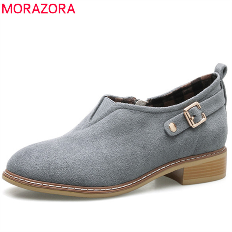 MORAZORA 2018 New arrive womens pumps single shoes woman flock zip solid med heels shoes spring autumn big size 34-43 free shipping 2016 spring autumn new increased internal woman shoes elastic band med heels pumps black red white woman shoes
