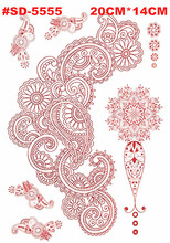Temporary Tattoo Flash Metal Health Beauty Body Art Tattoo Arm Sleeves Stickers Henna Women Jewelry, Waterproof