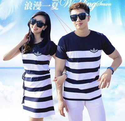 Fashion Couple Clothes Lovers T Shirts Dress Men Women Summer