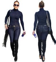 Женский джинсовый комбинезон с длинным рукавом синие топы и