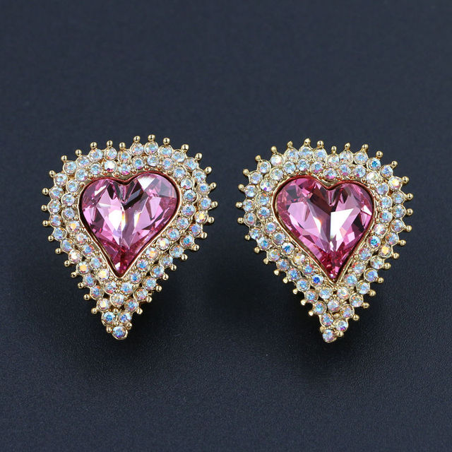 22MM Genuine Austrian Crystal Heart Shaped Clip On Earrings 4 Colors Rhodium Gold Plated Stellux Rhinestone Jewelry