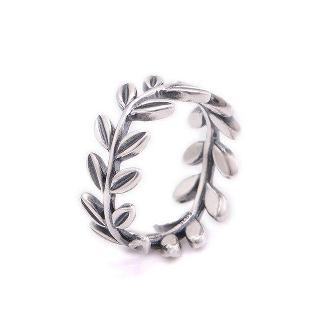 Совместимость с Европейской Ювелирные Изделия Листья Серебряное Обручальное Кольцо 100% Стерлингового Серебра 925 Кольца для Женщин Бесплатная Доставка