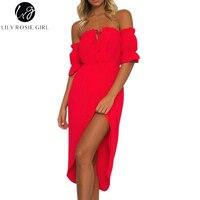 Lily Rosie Girl Women 2017 Red Off Shoulder Cascading Ruffle Casual Summer Sexy Beach Dress Slash