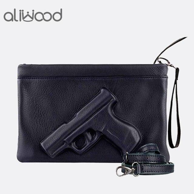 3D Impressão Saco de Pistola Mulheres Marca Saco Cadeia Mensageiro Sacos De Designer De Senhoras Bolsa Da Embreagem Envelope Embreagens Crossbody Bag Bolsas