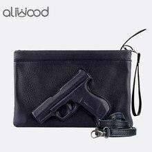 145352c27934 3D принт пистолет сумка бренд Для женщин мешок цепи Курьерские сумки  дизайнер кошелек сцепления дамы конверт
