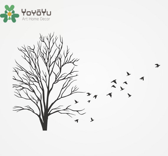 4b3d1a70e690 YOYOYU 40 color Vinyl Wall Decal with Flock of Flying Birds Dead Winter Tree  Branches Plant Home Decoration Stickers ZX027