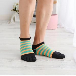 Image 3 - Veridical 5 paires/lot chaussettes en coton avec orteils hommes garçon cheville cinq doigts chaussettes bonne qualité rayé équipage bateau chaussettes mode été