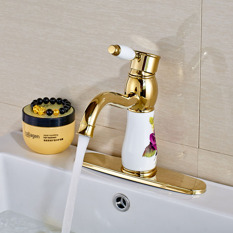 Free Shipping Luxury Basin Vessel Sink Faucet Single Handle Brass Gold Bathroom Vanity Sink Mixer Taps with hole Plate