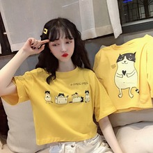 2019 New Summer Women T-shirt Yellow Cartoon Print Sexy Crop Top Fashion Loose Style Round Neck Womens Tee