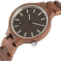 Fashion Wooden Watches Quartz Clock Woman Full Wood Band Quartz Wristwatches Royal Women's Walnut Bangle Gifts Relogio Feminino