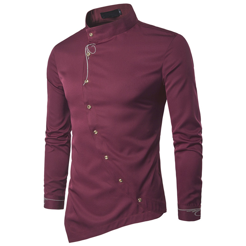 Shuyanly Fashion Men's Shirt Cotton Shirt Social Men's Shirt Personality Diagonal Button Irregular Solid Color High-end Shirt(China)