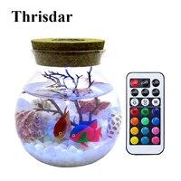 Thrisdar DIY Wish Bottle RGB Led Night Light With Remote Ocean Fish Bottle Night Light For